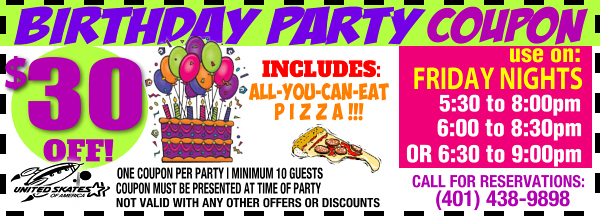 friday night birthday party coupon